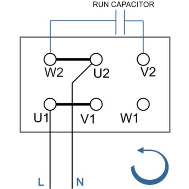 Схема подключения электродвигателя с одним конденцатором