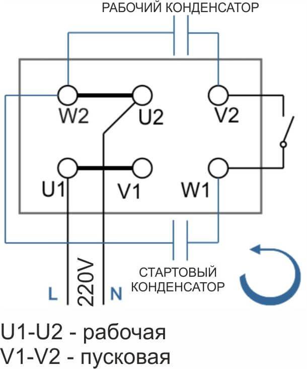 Схема подключения однофазного двигателя с пусковой обмоткой (вращение против часовой)